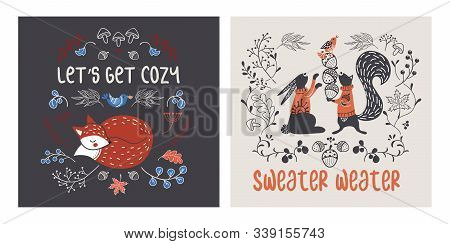 Set Of Cozy Cards With Autumn Animals And Decorations
