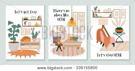 Set Of Cozy Cards With Interiors And Decorations
