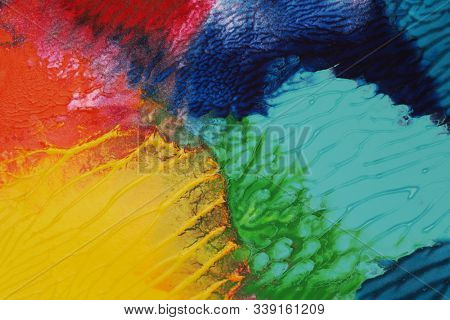 Abstract acrylic and watercolor smear blot painting. Color paper texture background.