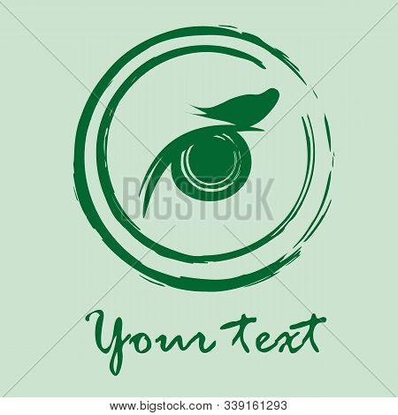 Nature And Ecology: Green Framed Silhouette Of Bird Sitting On Eyelid