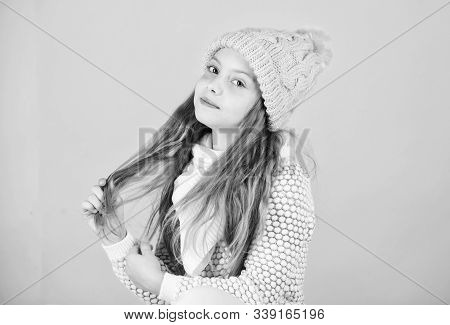 Tips For Caring For Knitted Garments. Child Long Hair Warm Soft Woolen Hat Enjoy Softness. Kid Girl