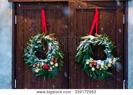 Advent Christmas Wreath On Wooden Door Decoration