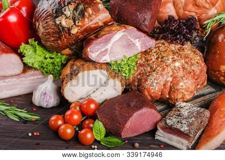 Assorted Meat Products, Including Ham, Sausage, Balyk, Lard, Basturma.