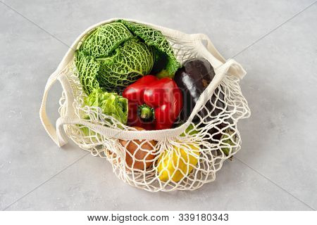 Zero Waste Concept. Vegetables In A Net Bag