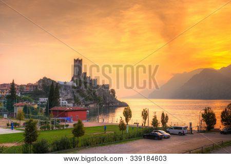 Scaliger Castle in Malcesine at Garda lake, Italy
