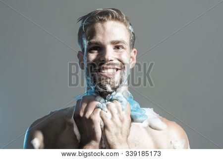 Happy Young Naked Man Taking Shower In Bathroom. Shower Man Washing Body. Young Guy Taking Shower. R