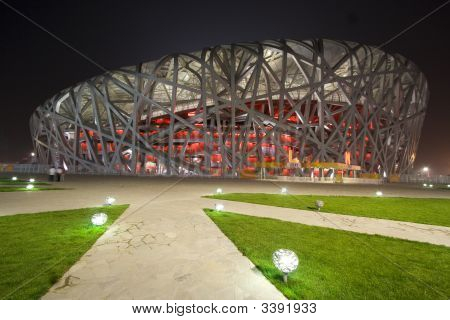 Beijing Olympic Stadium At Night