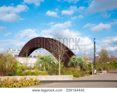 New Orleans, La. Usa. December 2019. View Of The Famous Bridge That Gives Entry To Crescent Park, A
