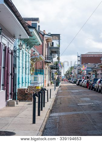 New Orleans, Usa. December 2019. Row Houses Of Traditional Architecture In Louisiana City On Street