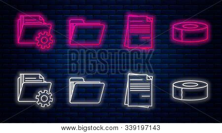 Set Line Document Folder, File Document, Folder Settings With Gears And Scotch. Glowing Neon Icon On