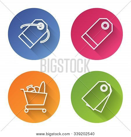 Set Line Blank Label Template Price Tag, Blank Label Template Price Tag, Shopping Cart And Food And