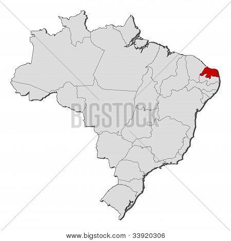 Map Of Brazil, Rio Grande Do Norte Highlighted
