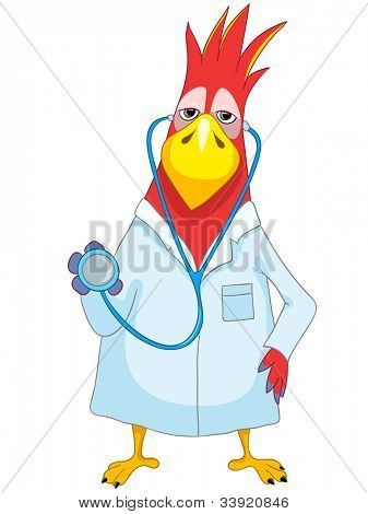 Cartoon Character Funny Parrot Isolated on White Background. Doctor. Vector EPS 10.