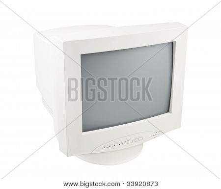 Old Pc Crt Monitor Screen Display Isolated White Background
