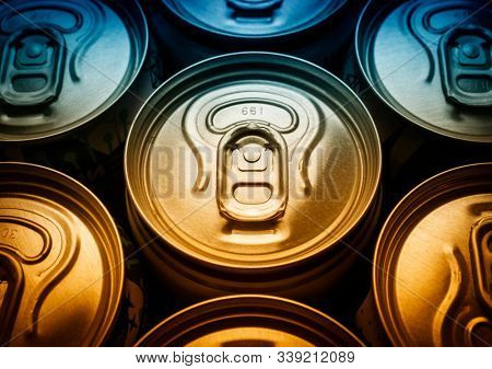 Aluminum beer cans top view