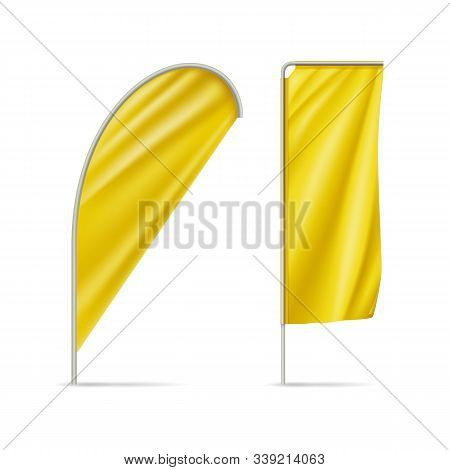 Yellow Teardrop And Rectangular Flags Mockups. Realistic Stationary Expo Banners For Outdoor Present