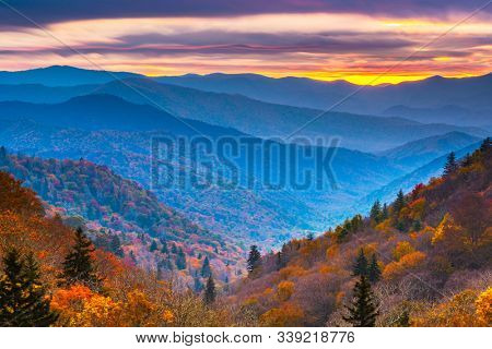 Smoky Mountains National Park, Tennessee, USA autumn landscape at dawn.