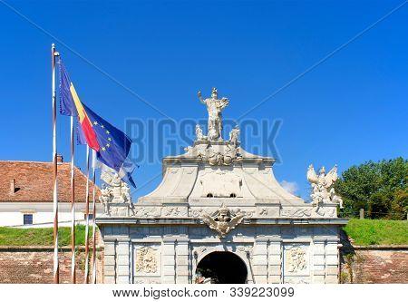 Architectural detail of Alba Iulia medieval stronghold, famous landmark in Transylvania, Romania, Europe