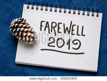 Farewell 2019 handwriting in an art sketchbook with a frosty pine cone against dark blue textured paper, New and Old Year concept