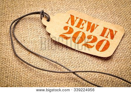 new in 2020 sign - a paper price tag with a twine against burlap canvas, shopping and new product concept