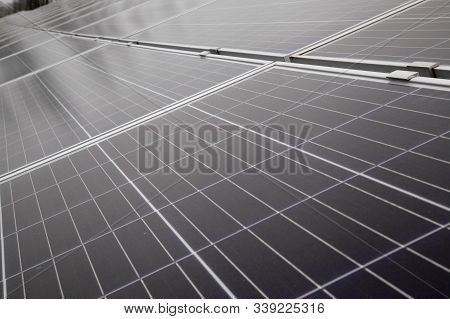 Installation Of Solar Panels. Solar Panel Produces Green, Environmentally Friendly Energy From The S