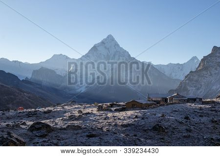 Scenic View Of Mount Ama Dablam 6,812 M One Of Himalaya Range At Chola Pass  During Everest Base Cam