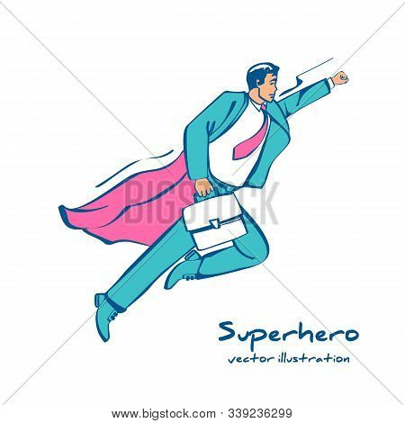 Superhero Sketch Icon. Human In A Red Cloak Flies Up To Perform A Feat. Vector Illustration Sketch D