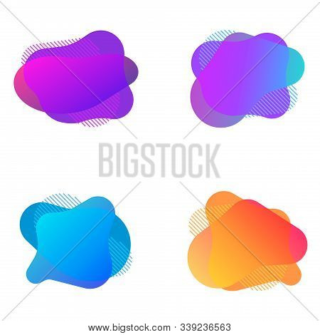 Abstract Liquid Shape Vector Illustration. Abstract Fluid Bubbles. Color Gradient Vector Shapes With