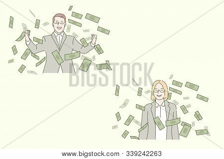 Business Success, Profitable Deal Concept. Businesspeople And Cash Notes, Entrepreneurs And Money, S