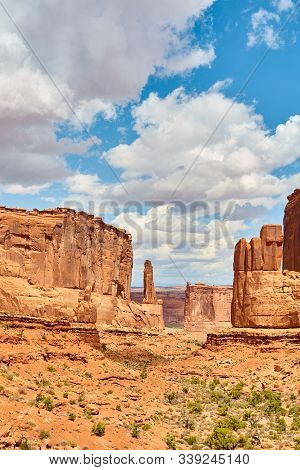 Rock Formations In Arches National Park, Utah, United States.