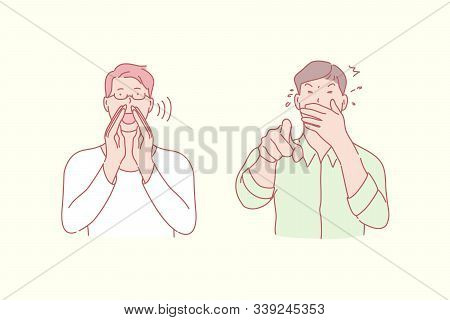 Shouting And Laughing Men, Positive And Negative Emotion Concept. Way To Call Somebody, Scream And C