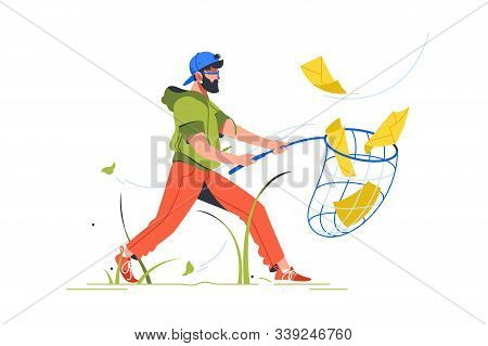 Bearded Man Cathing Mail With Notification Setting Using Butterfly Net. Isolated Abstract Concept Bu