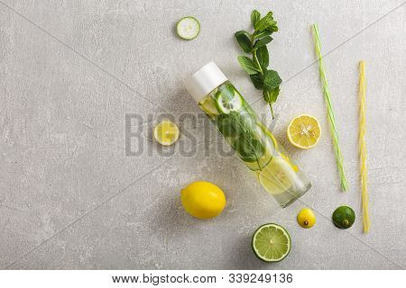 Fresh Non-alcoholic Detox Drink In A Bottle. Water Metabolism, Healthy Lifestyle