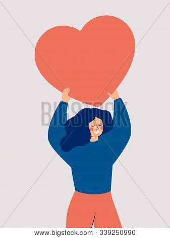 Happy Woman Holding A Red Big Heart Above Her Head Isolated On White Background. Flat Vector Illustr