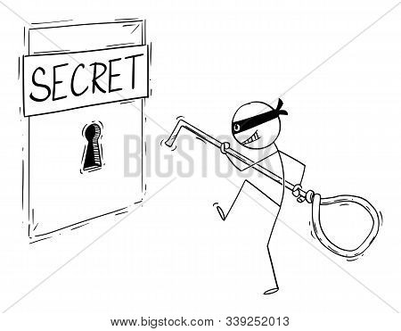 Vector Cartoon Stick Figure Drawing Conceptual Illustration Of Man In Mask, Criminal, Thief Or Hacke