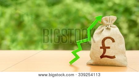 Money Bag With Pound Sterling Gbp Symbol And Green Up Arrow. Increase Profits And Wealth. Growth Wag