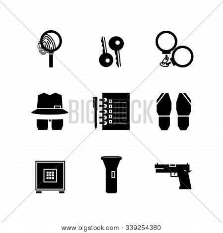 Icons Detective Crime. Find Icon, Investigate Concept Symbol. Crime Investigation Concept. Set Black