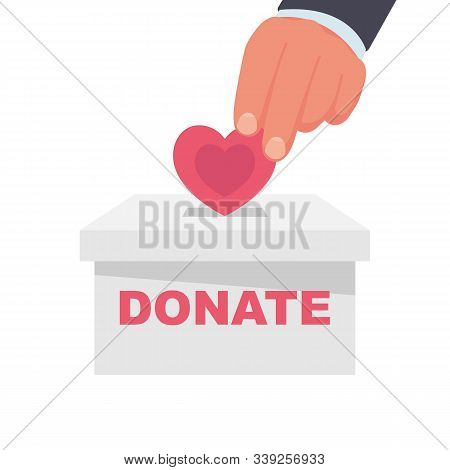 Medical Donation Concept. Vector Illustration Flat Design. Donor Day. Give Life. Man Hand Places Sma