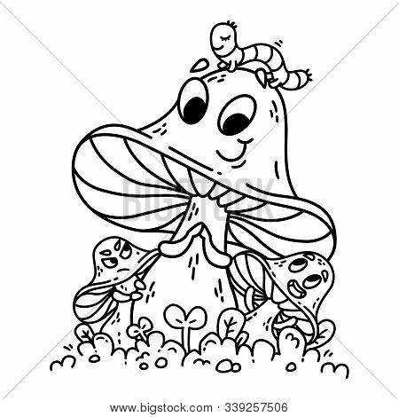 Cute Cartoon Mushrooms On Green Grass With Caterpillar On Hat. Vegetables Vector Illustration. Modes