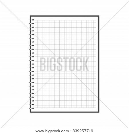 Vector Illustration Of Open Block Note With Square Grid. Empty Notebook With Copy Space Isolated On
