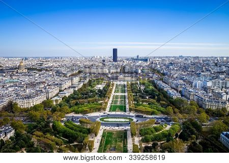 Aerial View Of The Champ De Mars From Eiffel Tower, Paris, France