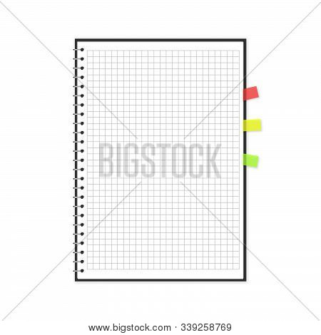 Vector Block Note With Transparent Bookmarks Set. Illustration Of Empty Squared Notebook Isolated On