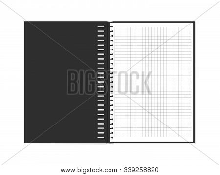 Vector Illustration Of Open Block Note With Square Grid. Empty Notepad With Copy Space Isolated On W