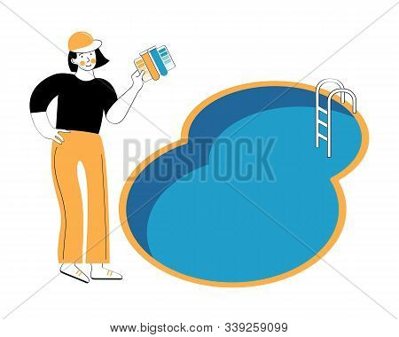 Swimming Pool Service Worker With Net Cleaning Water. Outdoor Cleaning, Swimming Pool Service. Woman