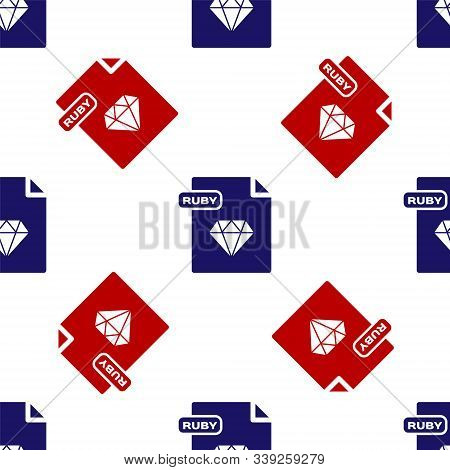 Blue And Red Ruby File Document. Download Ruby Button Icon Isolated Seamless Pattern On White Backgr