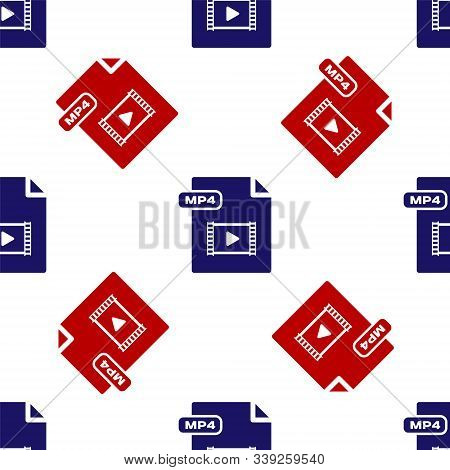Blue And Red Mp4 File Document. Download Mp4 Button Icon Isolated Seamless Pattern On White Backgrou