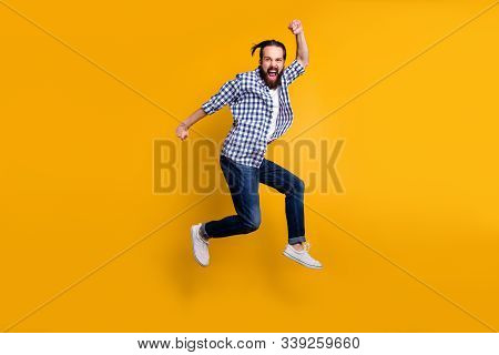Full Length Body Size View Of Nice Funky Crazy Overjoyed Cheerful Bearded Guy In Checked Shirt Jumpi