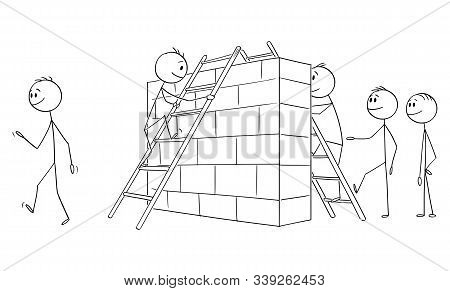 Vector Cartoon Stick Figure Drawing Conceptual Illustration Of Group Of Men, Businessmen Or Illegal
