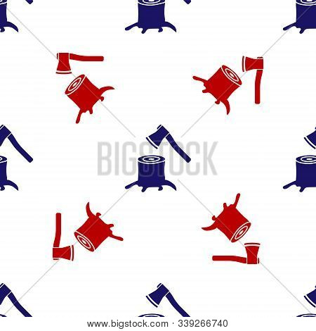 Blue And Red Wooden Axe In Stump Icon Isolated Seamless Pattern On White Background. Lumberjack Axe.