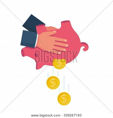 Human In Hands Shaking Piggy Bank. Fall Money. Vector Illustration Flat Design. Isolated On White Ba